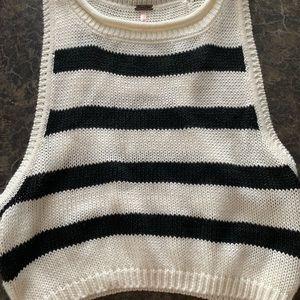 Stripe sweater crop tank